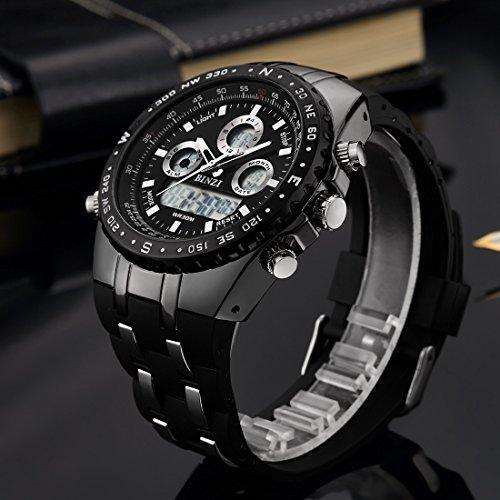 binzi milit r herren armbanduhr wasserdichte sport uhren digitaluhr luxus led licht dual display. Black Bedroom Furniture Sets. Home Design Ideas