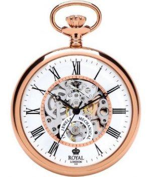 Royal London Uhr | Mechanische Taschenuhr Royal London | Taschenuhr Royal London | Uhr rosé | Handaufzug uhr