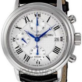Raymond Weil Uhr | Armbanduhr Raymond Weil | Herrenuhr Raymond Weil | Armbanduhr Leder mit blauen Zeigern