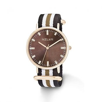 NoelaniUhr | Armbanduhr Noelani| Damenuhr Noelani | Damenuhr mit textilband | armbanduhr mit textilband | braune damenuhr | armbanduhr braun | gestreifte Armbanduhr