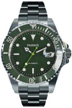 Parnis Uhren | Armbanduhr Parnis | Herrenuhr Parnis | grüne Automatikarmbanduhr