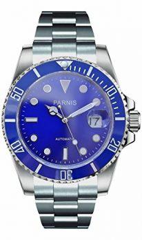 Parnis Uhren | Armbanduhr Parnis | Herrenuhr Parnis | Automatikuhr herren mit Datumanzeige | edelstahlarmband | edelstahl Armbanduhr mit Blauem ziffernblatt