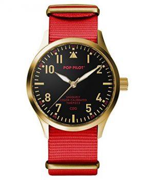Pop-Pilot Uhr | Armbanduhr Pilgrim | Analoguhr | Schwarz-Rot-Gold Armbanduhr | Armbanduhr mit rotem nylon band