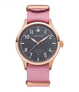 Pop-Pilot Uhr | Armbanduhr Pilgrim | rosa-schwarz armbanduhr
