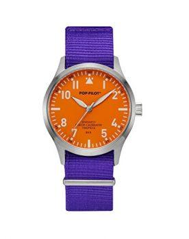 Pop-Pilot Uhr | Armbanduhr Pilgrim | auffällige Armbanduhr | Bunte Armbanduhr | Lila uhr mit orange ziffernblatt