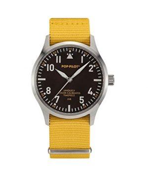 Pop-Pilot Uhr | Armbanduhr Pilgrim | gelbe Armbanduhr | Armbanduhr mit Gelbem Nylonband