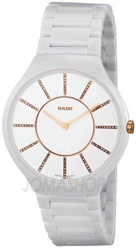 Rado True Thinline Damen Diamanten 39mm Weiss Keramik Armband Uhr