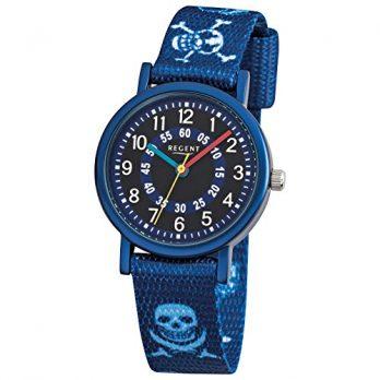 Regent Uhr | Armbanduhr Regent | Kinderuhr Regent | Armbanduhr Kinder blau | blaue textilarmbanduhr für Kinder | textilarmbanduhr für Kinder| armbanduhr mit todenkopf motiv | Piratenuhr