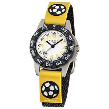 Regent Uhr | Armbanduhr Regent | Kinderuhr Regent | Kinderarmbanduhr Gelb-schwarz | Jungen Armbanduh rmit Fussballmotiv
