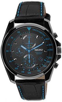 Seiko Uhr | Armbanduhr Seiko | Herrenuhr Seiko | chronographenuhr schwarz leder