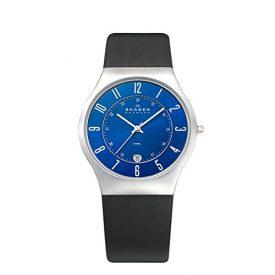 Skagen Uhr   Armbanduhr Skagen   Herrenuhr Skagen   schwarze armbadnuhr mit blauem ziffernblatt