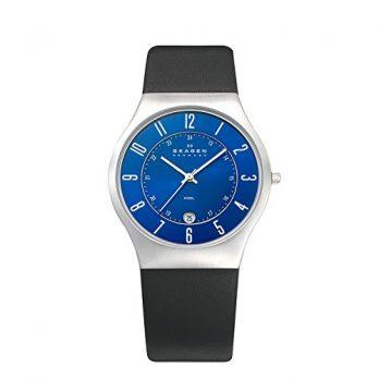 Skagen Uhr | Armbanduhr Skagen | Herrenuhr Skagen | schwarze armbadnuhr mit blauem ziffernblatt