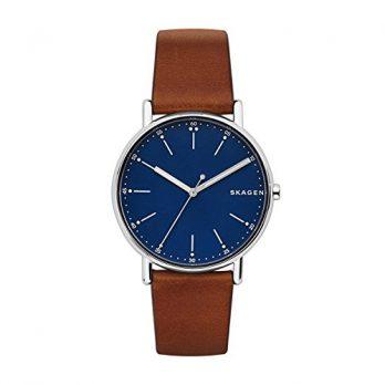 Skagen Uhr | Armbanduhr Skagen | Herrenuhr Skagen | Lederarmbanduhr herren mit dunkelblauem ziffernblatt
