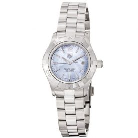 Tag Heuer Uhr | Armbanduhr Tag Heuer | Damenuhr Tag Heuer | Edelstahl Armbanduhr mit perlmutt blauen Ziffernblatt