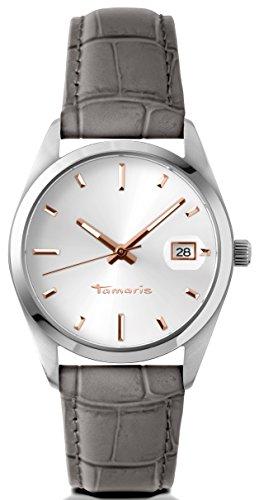 Tamaris Uhr | Armbanduhr Tamaris | Damenuhr Tamaris | grau-silberne Leder armbanduhr | Damenuhr mit grauem Ledearmband